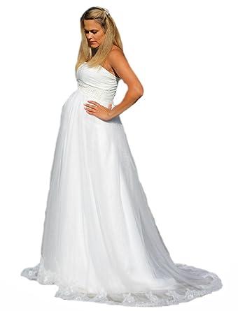 ce319f5ff09 Brautkleid TRAUM Hochzeitskleid A-Linie Umstandskleid Weiß Ivory Spitze 34  - 54 (34