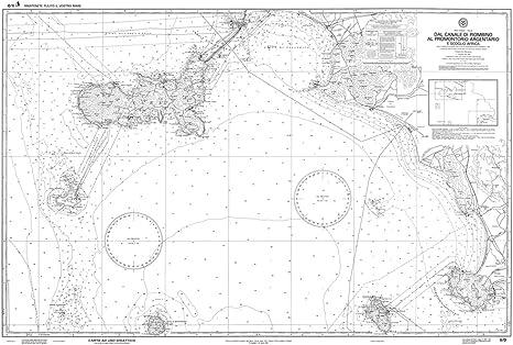 Istituto Idrografico della Marina IIM 5//D AR Carta Nautica Didattica 5D Arrotolata Senza Pieghe dal Canale di Piombino al Promontorio Argentario e Scoglio Africa