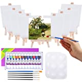 Mini Canvas and Easel, Cridoz 47 Pieces Mini Canvas Painting Set Includes 4x4 Inches Primed Canvas, Mini Easel, Acrylic…