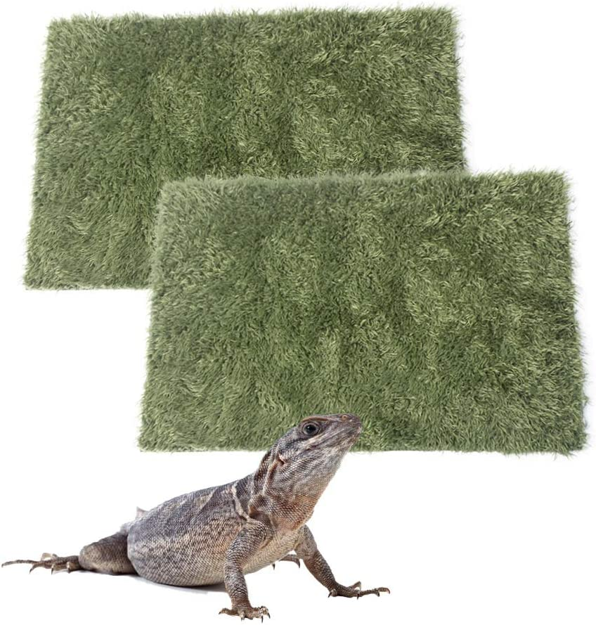 kathson Reptile Carpet Mat Imitation Rainforest Crawler Mats for Terrarium Lizards Snakes Bearded Dragon Gecko Chameleon Turtles Iguana (2 PCS)