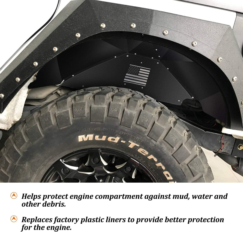 Front Inner Fender Liners Lightweight Aluminum Design Protection and Increased Air Flow for J-eep Wrangler 2007-2018 JK JKU Sahara Rubicon Unlimited Sport 2 Doors//4 Doors 4 Pcs