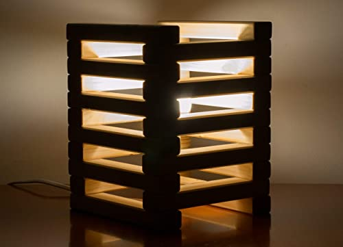 Lampada Da Tavolo In Legno Con Listelli Amazon It Handmade