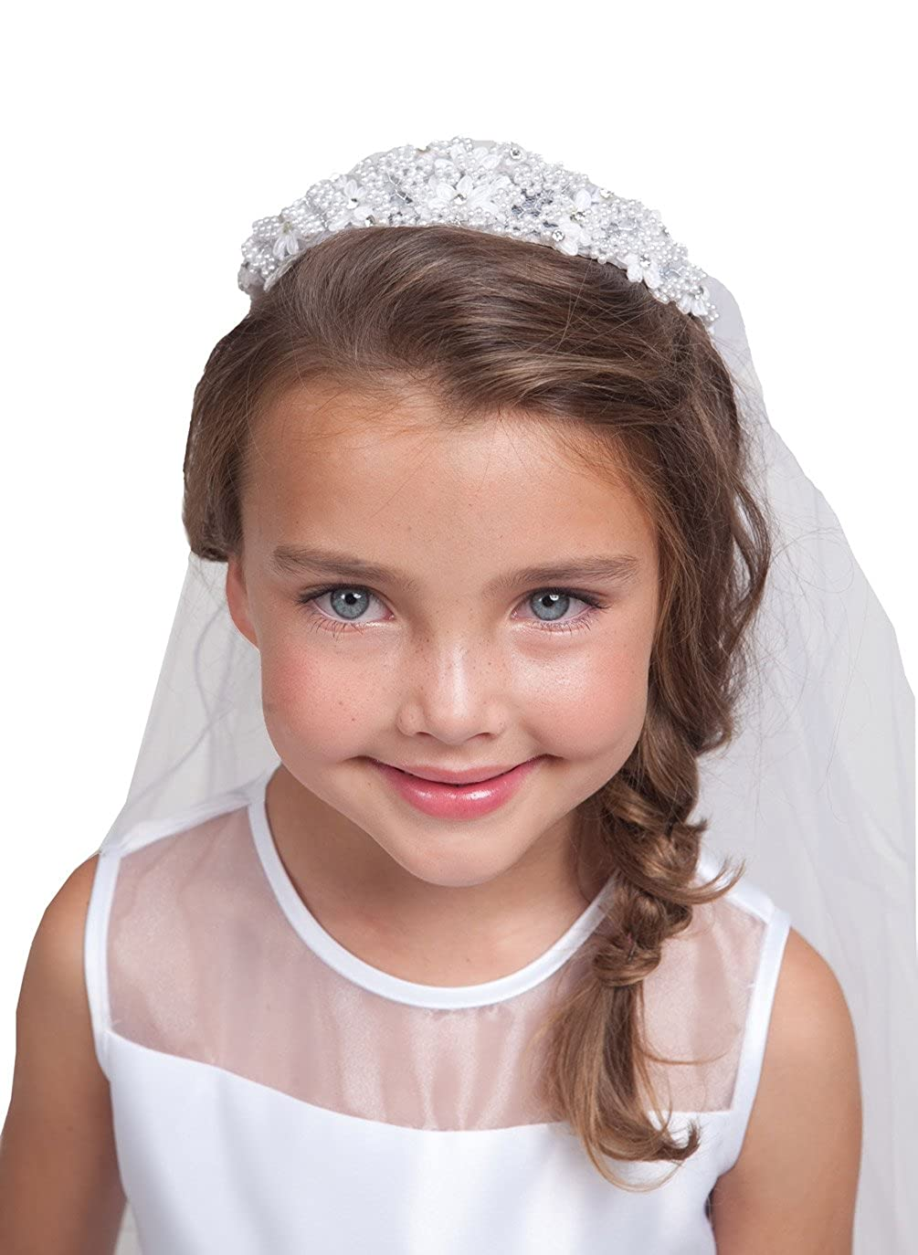 Pearl & Rhinestone White Tiara with Attached Veil ~ (Kid v65) KID-v65-Veil