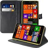 kwmobile Elegante funda de cuero sintético para el Nokia Lumia 1320 con cierre magnético y función de soporte en negro