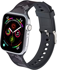 LS Apple Watch Band Compatible with 42/44mm, for Women Men, Soft Silicone Painted Pattern Band Strap for iWatch Apple Watch Series SE 65 4 3 2 1(Camouflage black, 42mm/44mm)
