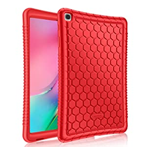 Fintie Silicone Case for Samsung Galaxy Tab A 10.1 2019 Model SM-T510(Wi-Fi) SM-T515(LTE) SM-T517(Sprint), Honey Comb Series Kids Friendly Light Weight Shock Proof Protective Cover, Red