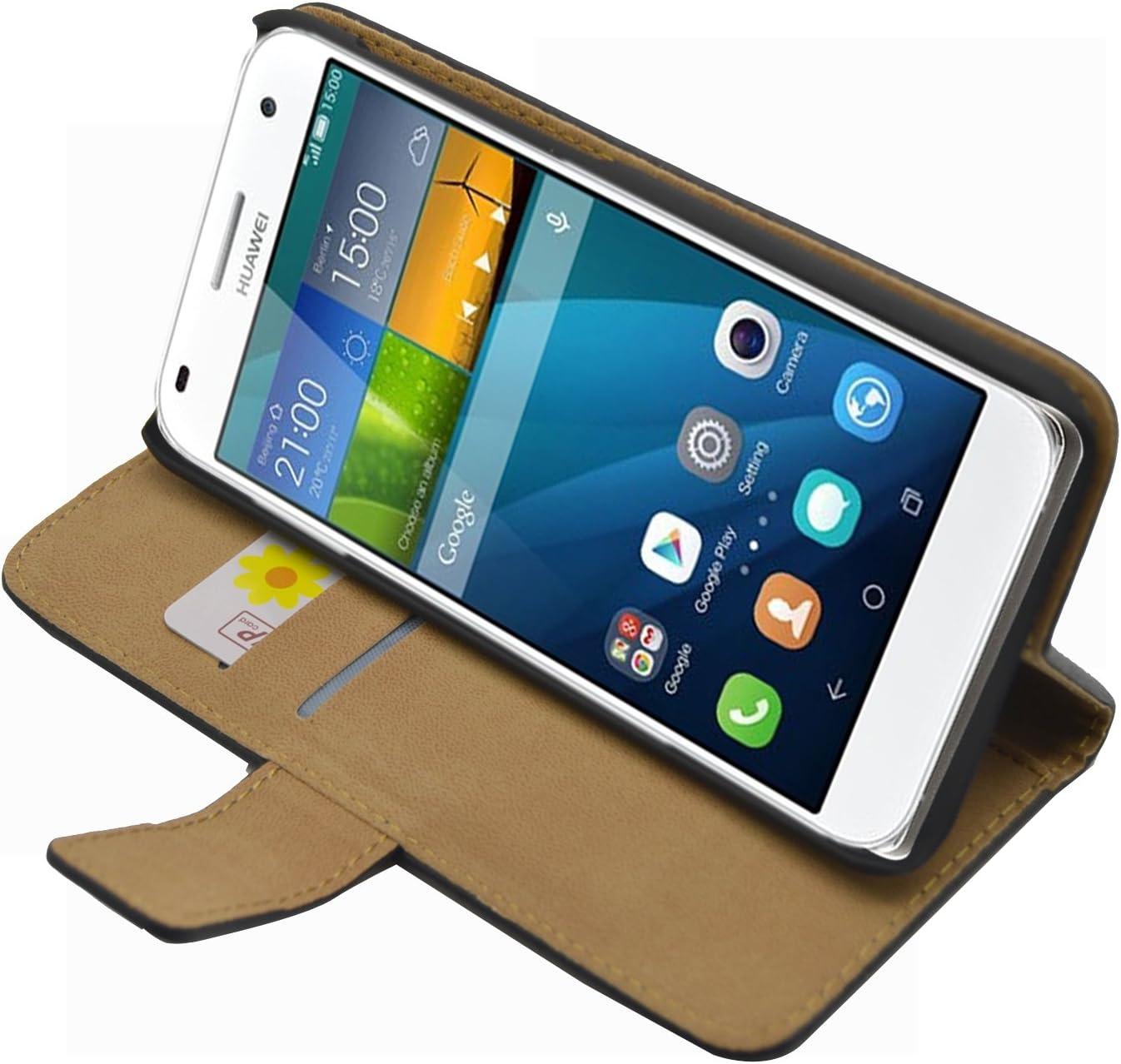 Membrane - Negro Cartera Funda Compatible con Huawei Ascend G7 (G7 ...