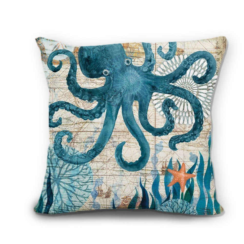 Wendana Ocean Theme Cute Octopus Linen Pillow Covers Decorative 18 X 18 Throw Pillows Pillow Case For Couch by Wendana