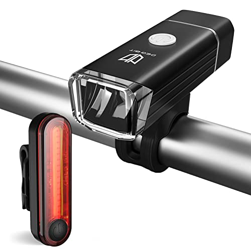 Degbit Bike Lights, USB Rechargeable Bike Light Set, Mountain Bike Light, Cycle Lights, LED Bicycle Lights Rechargeable, Quick Release, USB Rechargeable Front Light Headlight and Tail Back Light