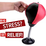 REEHUT Stress Relief Desktop Punching Ball/Bag Stress Buster, Decompression for Adults&Kids With Strong Suction Cup - Pump Included - an Amazing Toy for the Office