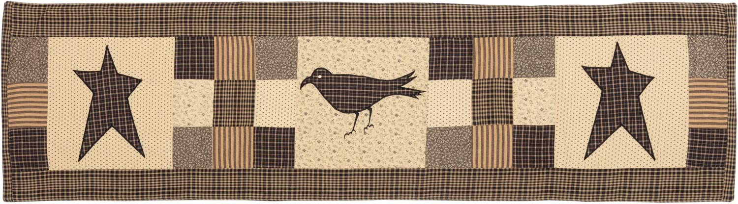Country Black Primitive Tabletop Kitchen Kettle Grove Crow and Star Cotton Appliqued Nature Print Rectangle 13x48 Runner