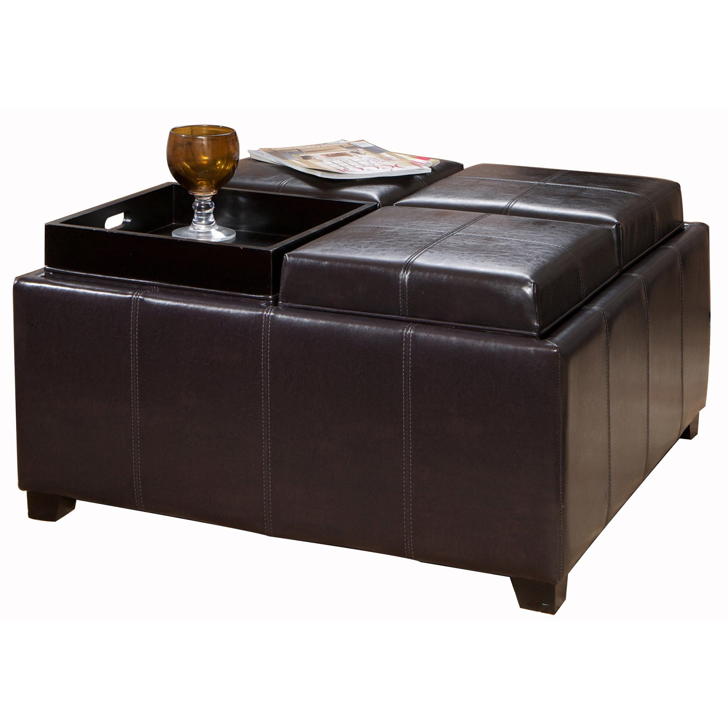 Amazon Best Selling Dartmouth Leather Tray Ottoman Black