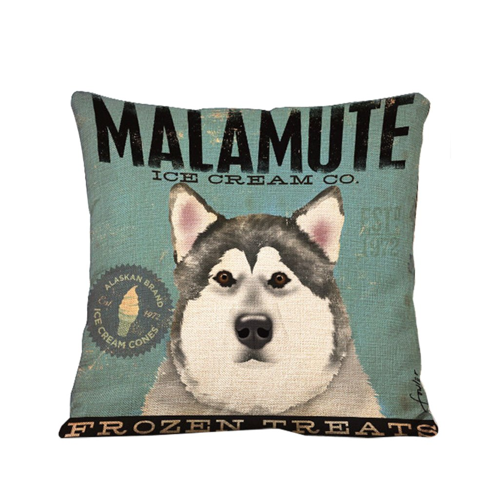 Ruikey Fashion Pillow Case Lovely Cartoon Dogs Linen Cushion Cover Sofa Bed Home Decoration 44 * 44CM