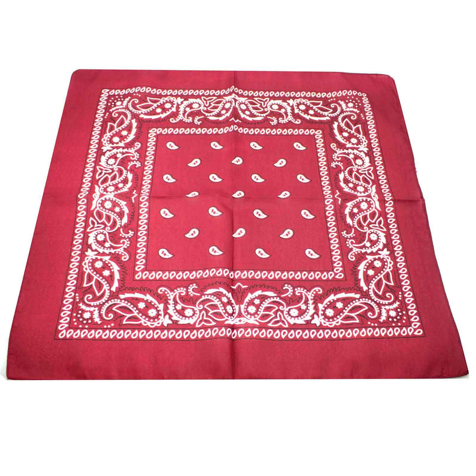 VANKER 1Pc Wine Red Sports Polyester Paisley Bandana Head Hair Neck Scarf Neckerchief Hip-Pop Streeting Dancing