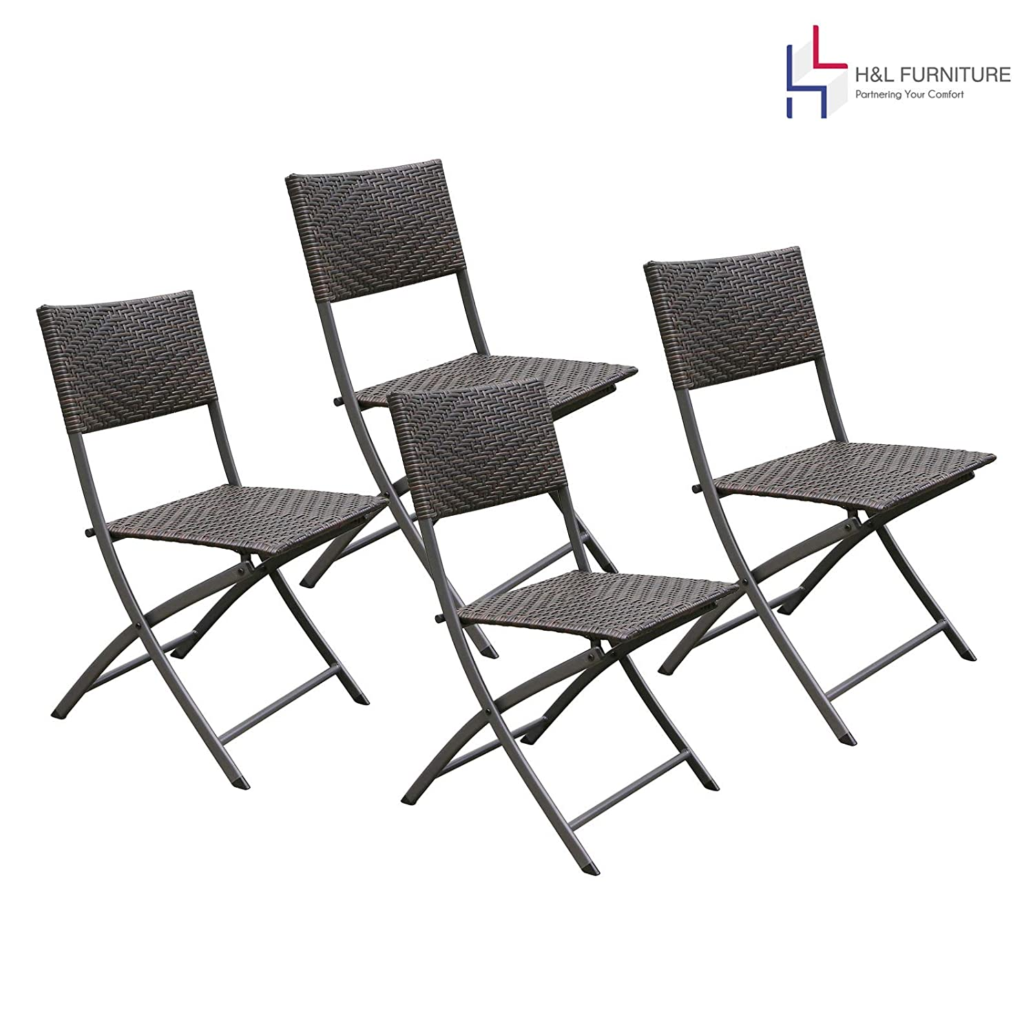 HL Patio 4-Pack Folding Chairs, Portable for Outdoor Camping, Beach, Deck Dining, Espresso Brown, Resin Rattan Steel Folding Chairs, 1 Year Warranty, No Assembly Needed