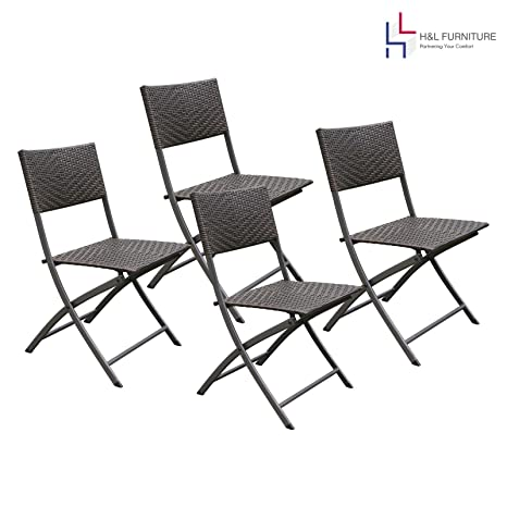 4 Pack Folding Chairs.Hl Patio 4 Pack Folding Chairs Portable For Outdoor Camping Beach Deck Dining Espresso Brown Resin Rattan Steel Folding Chairs 1 Year Warranty
