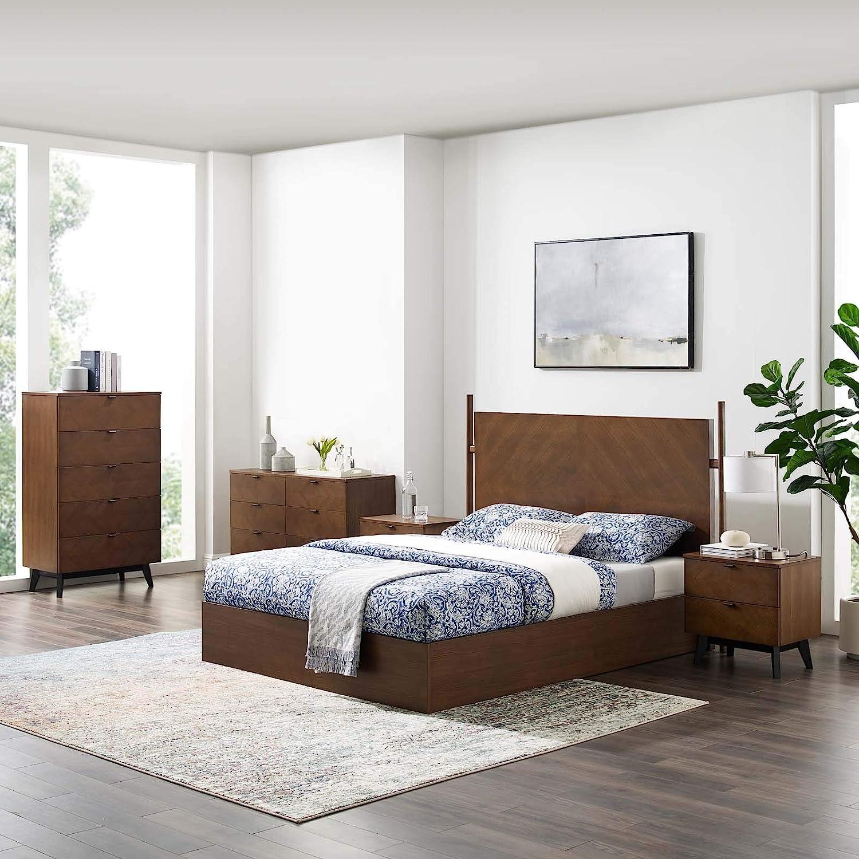 Amazon Com Modway Kali 5 Piece Bedroom Set Walnut Furniture Decor,Best Shutter Colors For Brick House