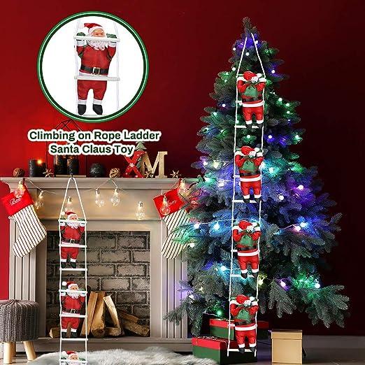 CestMall Papá Noel Escalada en Escalera de Cuerda Juguete de decoración, 20 cm 4 Piezas Colgante de Navidad Muñeca Colgante Árbol de casa ...