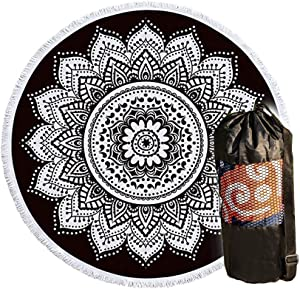 """Premium Beach Towel - Round Pool/Picnic/Yoga Towels - 71"""" Inches - Extra Large All-Purpose Towel - Thick/Durable/Soft/Fast Drying/Machine Washable - Colorful Style - Boho Decor - Decorative Cover"""