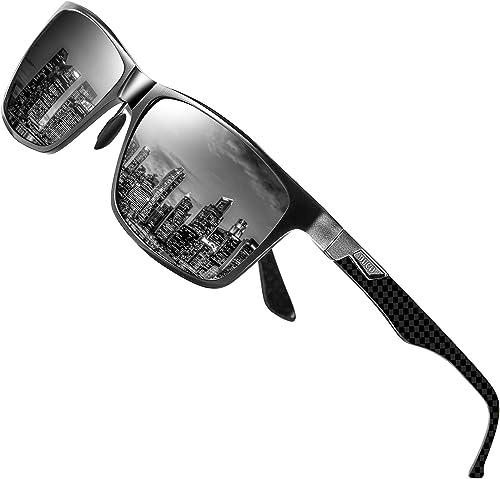 DUCO Luxury Carbon Fiber Temple Polarized Sunglasses