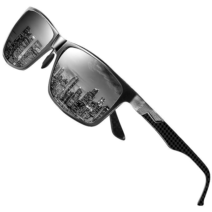 5cbaa1829b6f DUCO Herren Polarisierte Sonnenbrille mit Rechteckig Metallrahmen und  Kohlefaser Brille Beine UV400 CAT 3 CE 8206