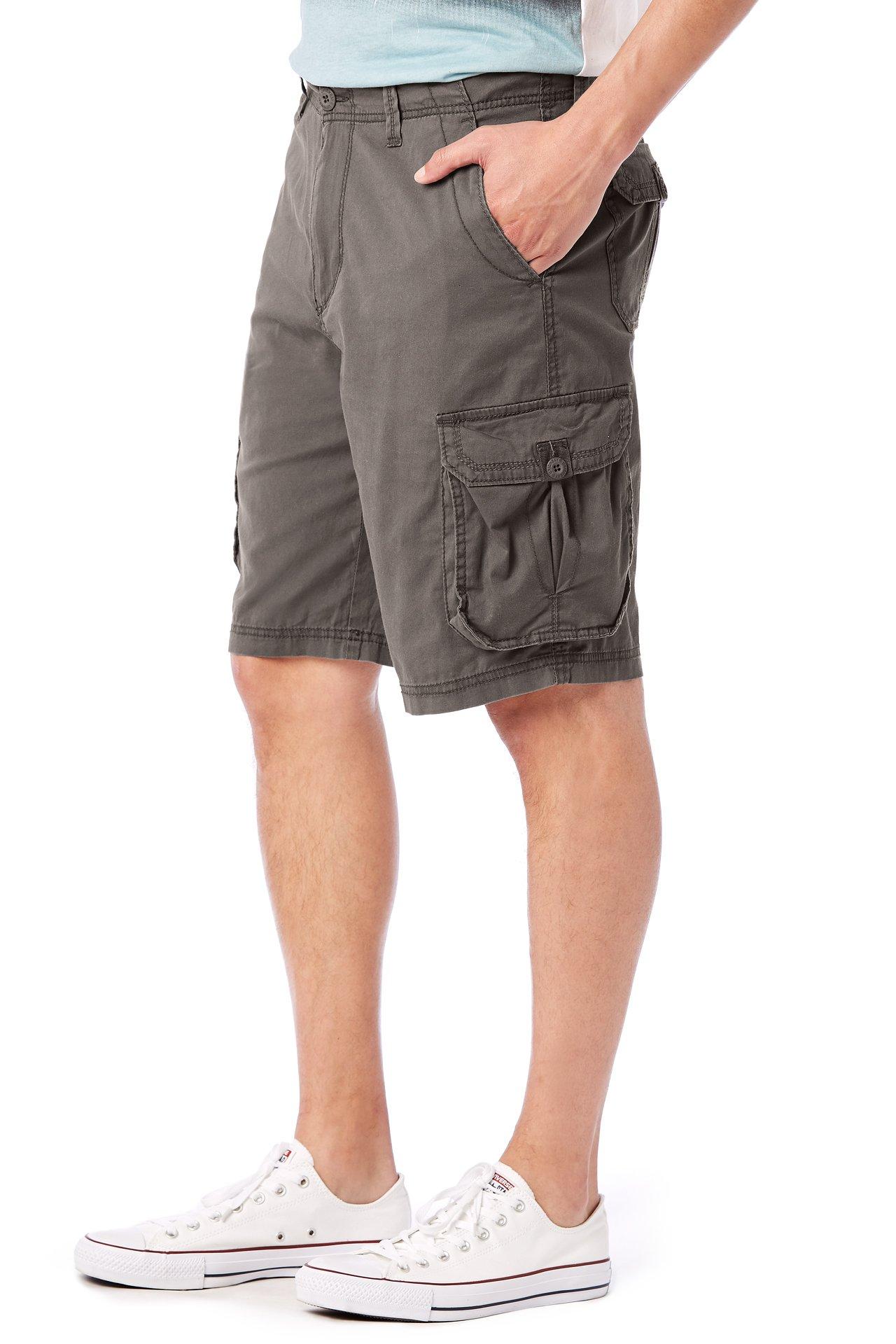 UNIONBAY Men's Stretch Fresh Twill Relaxed Fit Zipper Cargo Short, Flint, 38 by UNIONBAY (Image #4)
