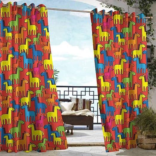 DILITECK Cortina de pérgola diseño de Caballo Abstracto, Figura de Animal Corriendo en el Desierto, Paisaje Natural de Verano al mediodía para Patio/Porche Frontal: Amazon.es: Jardín