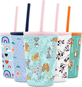 Simple Modern Disney Kids Cup 12oz Classic Tumbler with Lid and Silicone Straw - Vacuum Insulated Stainless Steel for Toddlers Girls Boys - Disney: Lady and the Tramp