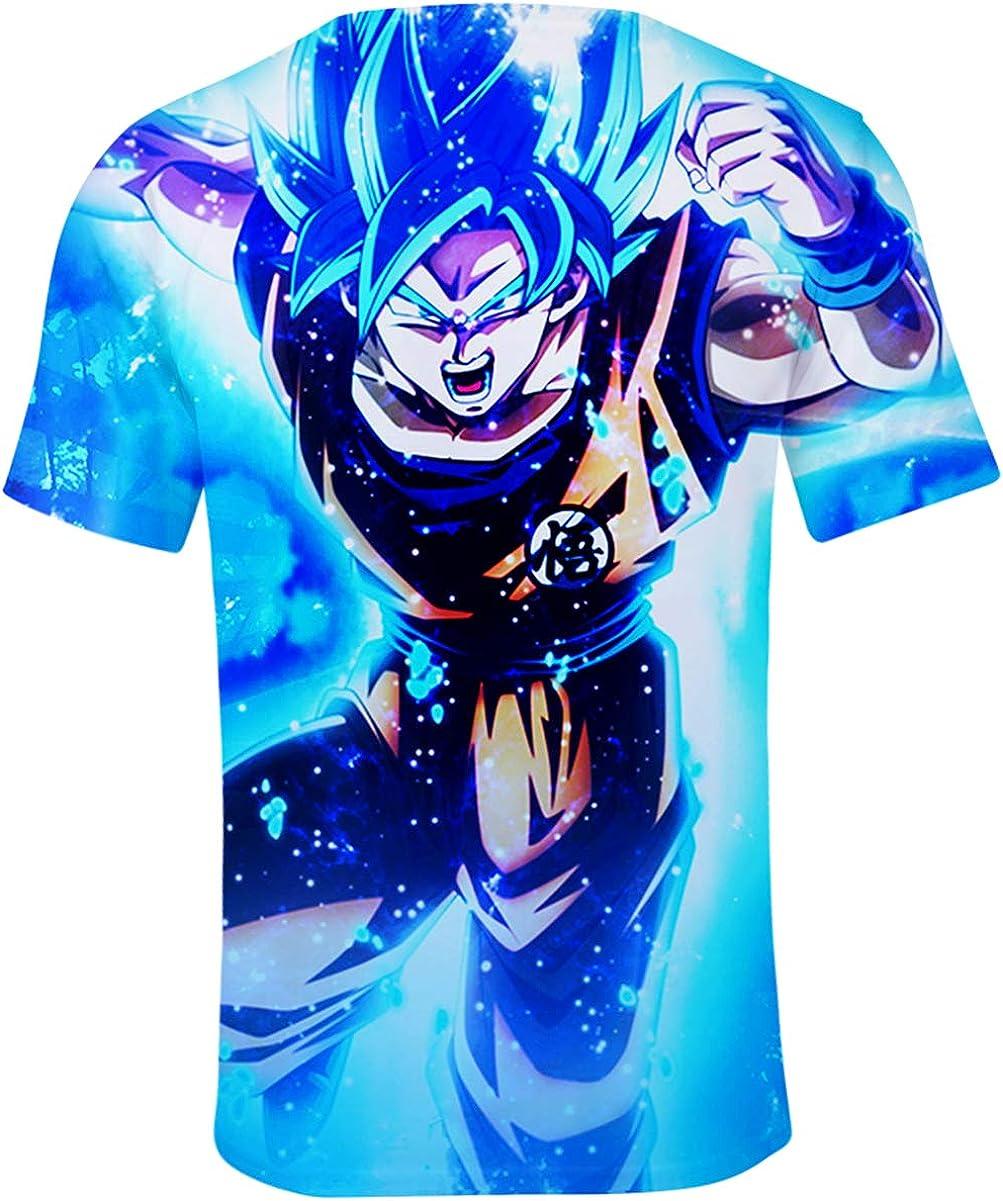 JOAYIN Chico Hombres Dragon Ball T-Shirt Cuello Redondo Impresión 3D Anime japonés Ropa Deportiva Camisa de Tops de Moda