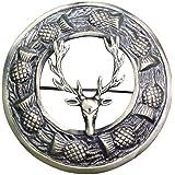 """AAR Men,s Scottish Stag Head Kilt Brooch Fly Plaid Antique Finish 3"""" (7cm) diameter"""