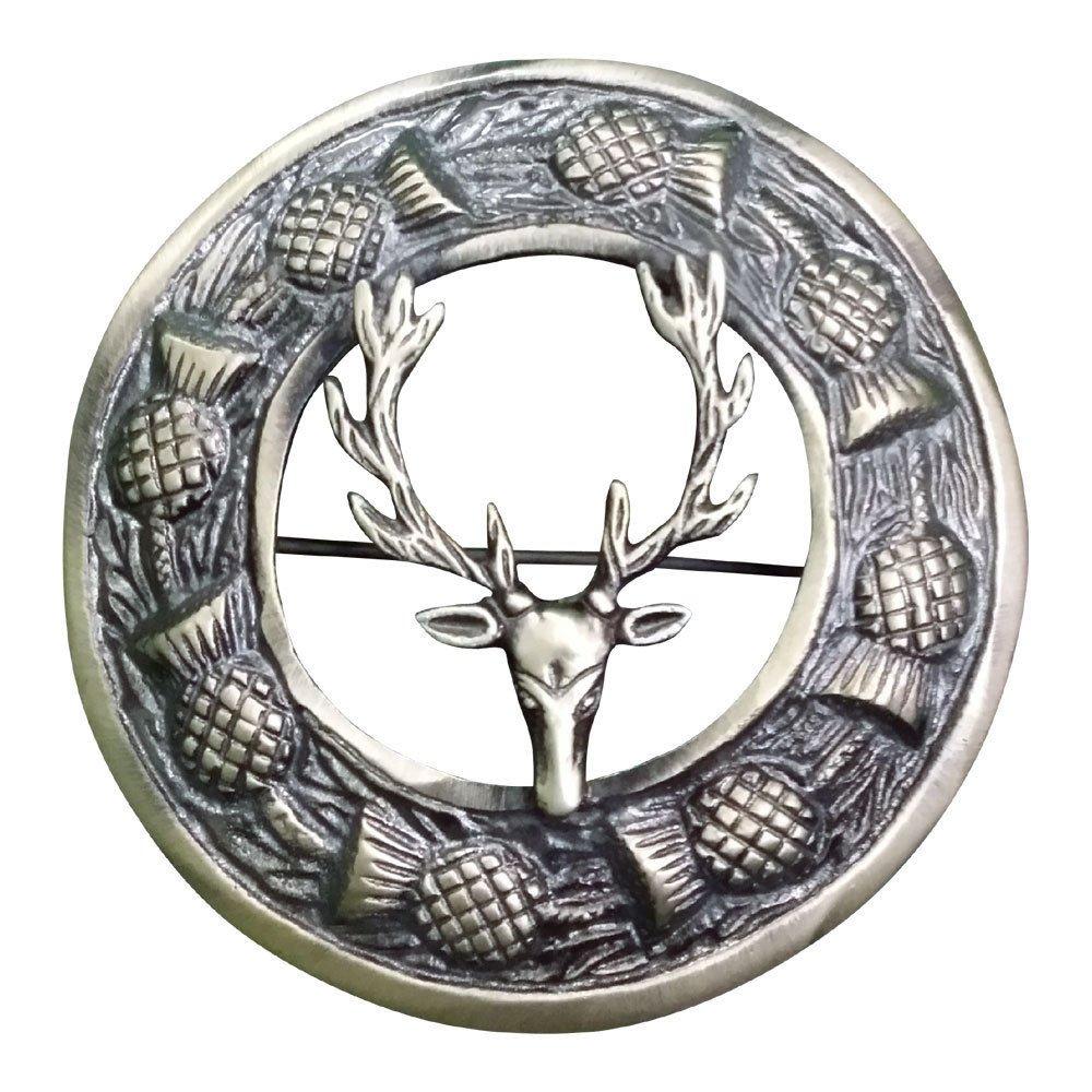 AAR Men,s Scottish Stag Head Kilt Brooch Fly Plaid Antique Finish 3