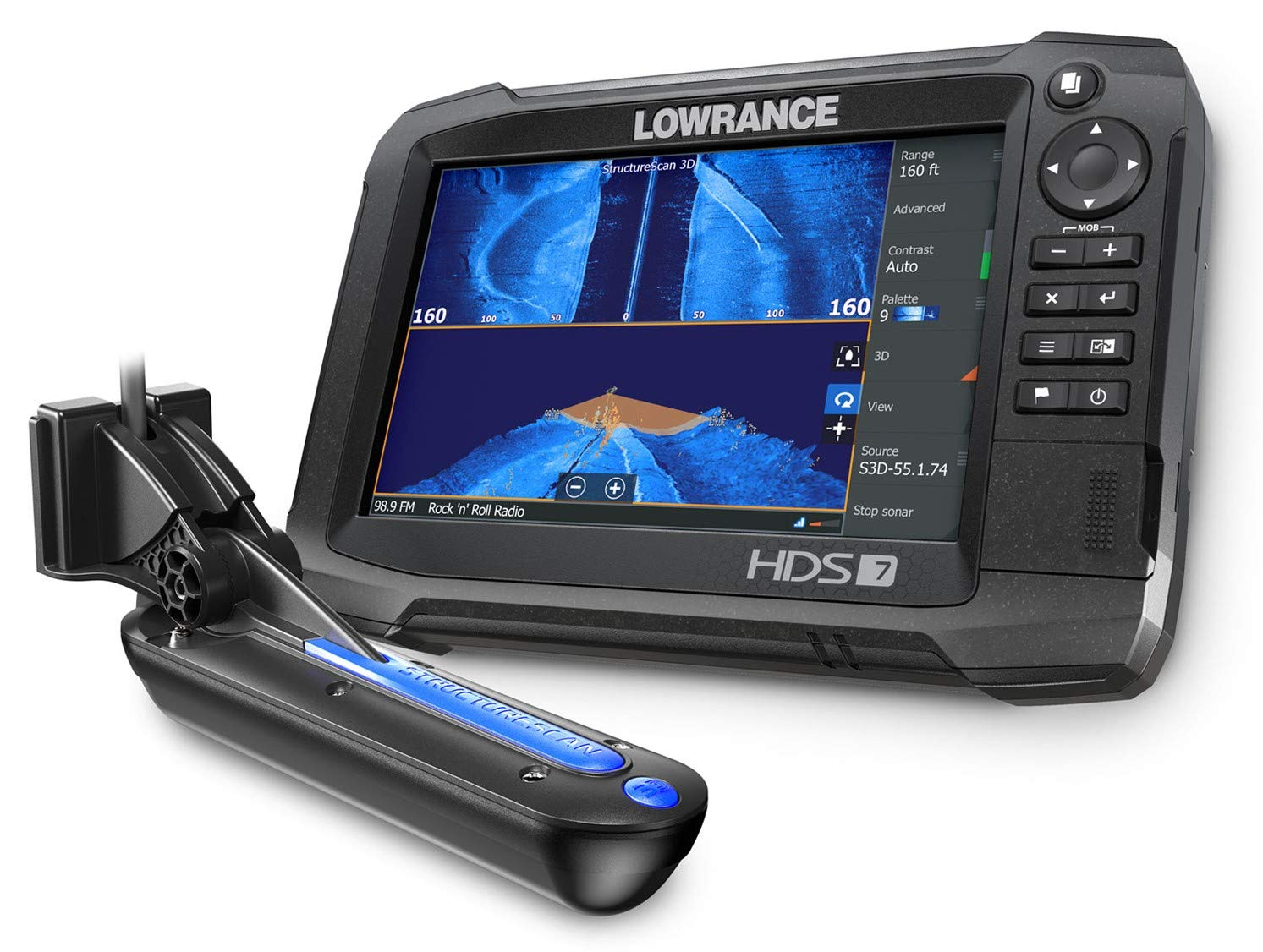 HDS-7 Carbon - 7-inch Fish Finder with TotalScan Transducer and C-MAP US Enhanced Basemap Installed by Lowrance