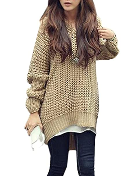 Minetom Mujer Moda Tejer Suéter Largo Capa Encapuchado Pullover Irregular Dobladillo Tops Caqui One Size