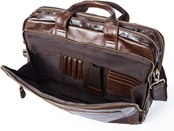 Techecho Mens Leather Handbag Retro 15.6 with Handle Business Briefcase Shoulder Bag Large Capacity Leather Computer Bag