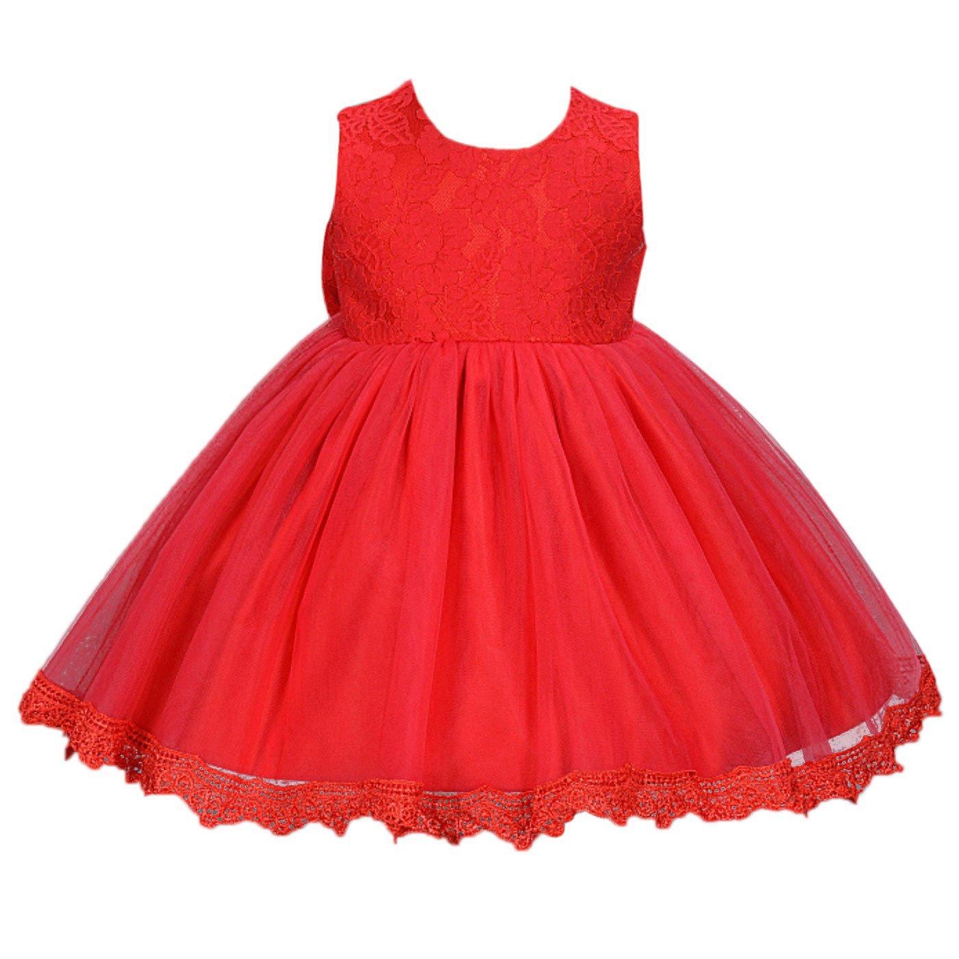 Happy Cherry - Falda de Tútu Vestido Boba Fiesta Ceremonia Bautismo para Bebés Recien nacido Niñas sin Mangas de Encaje - Rosa Blanco Rojo - Talla ES 0-12 meses