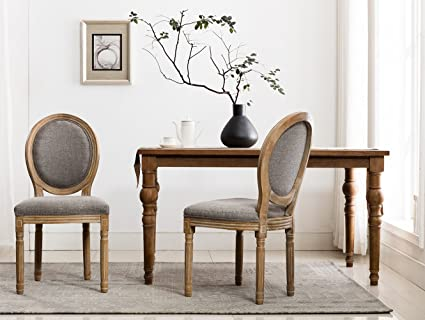 Good Rustic Farmhouse Dining Room Chairs, French Distressed Elegant Tufted  Kitchen Chairs With Carving Wood Legs