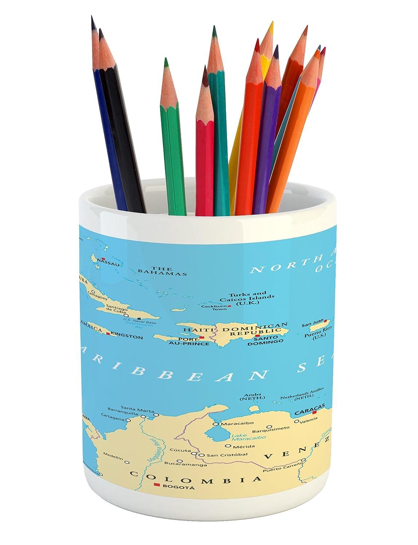 Amazon.com: Ambesonne Wanderlust Pencil Pen Holder, Caribbean Political Map Capitals National Borders Important Cities Rivers Lakes, Printed Ceramic Pencil ...