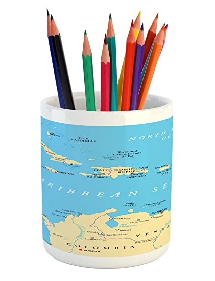 Ambesonne Wanderlust Pencil Pen Holder, Caribbean Political Map Capitals National Borders Important Cities Rivers Lakes