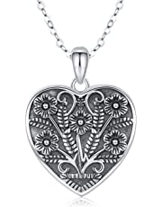 JUSTKIDSTOY S925 Sterling Silver Love Heart Locket Necklace That Holds Pictures Oxidized Flowers Vintage Photo Lockets