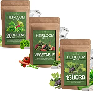 Heirloom Herb, Vegetable, Lettuce, and Leafy Greens Seed Pack - 45 Varieties