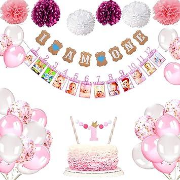 """Howaf Decoraciónes Cumpleaños 1 año Bebe Niña, 1 Banderines """" I Am one"""" + 12 meses bebé primer año marco foto guirnalda + 6 Pompón Bola de Flor + 25 ..."""