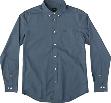 RVCA Men's That'll Do Oxford Long Sleeve Woven Shirt, Blue Slate, ...