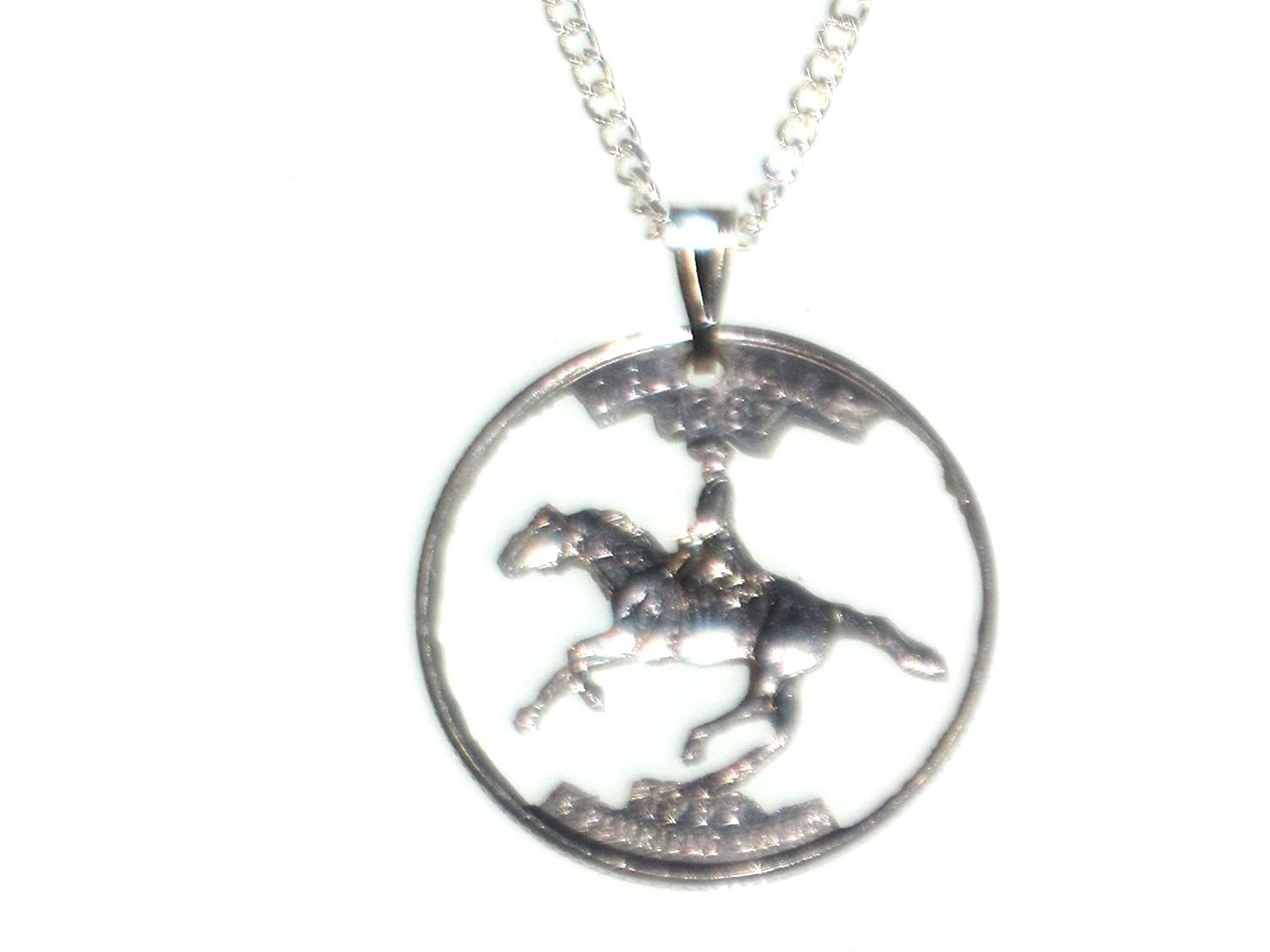 Hand Cut Delaware State Quarter Mounted with a Bale and 24 Inch Silver Tone Chain