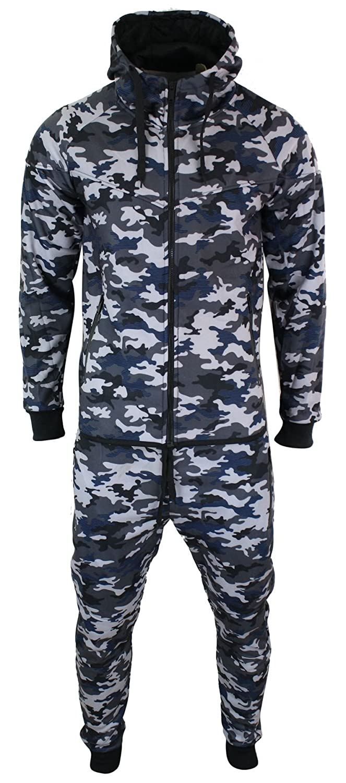 Survêtement Complet Polaire Camouflage Haut à Capuche Bas Jogging Homme Classic Style