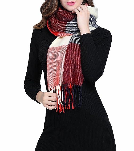 3675823f6b6ce9 Tuopuda Damen Kariert Oversized Kaschmir Schal lange Weich Wraps grosse  Schal Für Herbst/Winter (