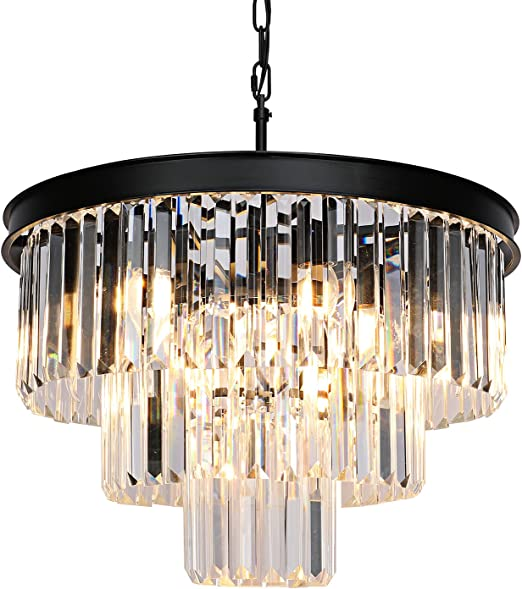Weesalife Modern Crystal Chandeliers Contemporary Ceiling Lights Fixtures 9 Lights Farmhouse Pendant Lighting Dining Room Living Room 3-Tier Chandelier W19.7 Inches, Black