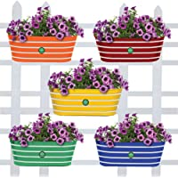 TrustBasket® Ribbed Oval Balcony Railing Flower Pots/planters - Set of 5 (Red, Yellow, Green, Orange, Blue)