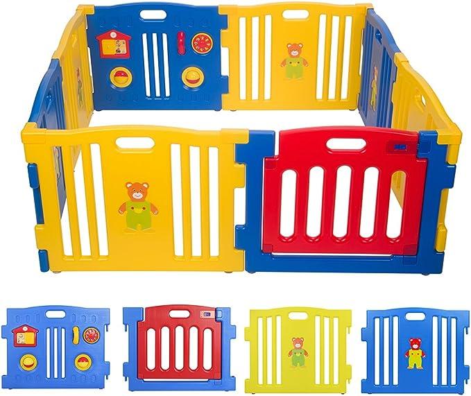 BEBEHUT® Box Bimbo recinto Bimbo Barrera protectora plástico Box para niños grande Seguridad Barrera 3801-d01jbw08Azul–Rojo–Amarillo