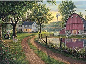 DIY Diamond Painting Full Drill Crystal Rhinestone Embroidery Cross Stitch Arts Craft Canvas Wall Decor Countryside View 15.7x11.8Inches