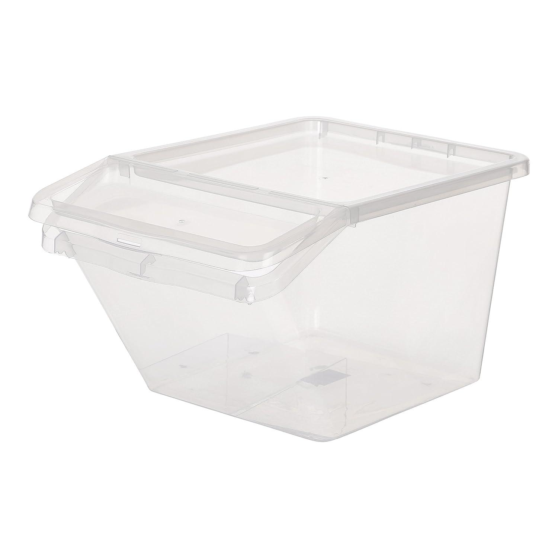 Kreher Aufbewahrungsbox, Sortierbox aus Kunststoff in Transparent. mit ca. 48 Liter Volumen. Stapelbar. Maße BxTxH in cm ca.: 39,4 x 59,7 x 31,2 cm